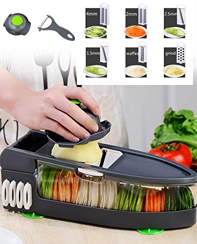 Mandoline Vegetable Fruit Cutter Shredder 6 in 1 Multi-function Manual Potato Slicer Cheese Grater Waffle Potato Cutter for Garlic, Carrot, Potato, Onion Rings, Chips and French Fries (Update)
