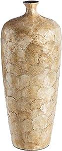 LOLAhome Jarrón tinaja de cerámica y nácar Beige Shabby Chic de ø 22x60 cm