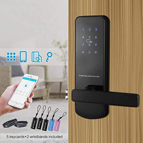 XINTONGLO Smat schwarz Bluetooth WiFi intelligente elektronische Türschloss, Tastatur, Einsteckschloss, Türschloss, Master Airbnb-Haus-Wohnung, ferngesteuerte App