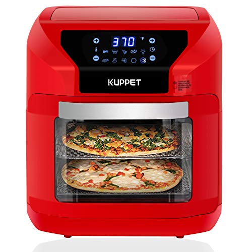 Air Fryer 10QT KUPPET Electric Hot Air Fryer, Roasting, Reheating & Dehydrating, Touch Screen Oven Oilless Cooker Extra Large Capacity Nonstick Fry Basket with Additional Accessories, 1700W,Red