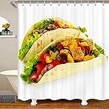 Loussiesd Cortina de baño de estilo americano con diseño de tortitas y tortitas, cortina de ducha para puestos de baño, bañeras, deliciosos panqueques, impermeable, 180 x 240 cm