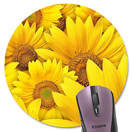 Knseva Sunflowers Round Mouse Pad Customized Cute Bright Yellow Flowers Floral Circular Mouse Pads