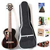 26 Inch All Blackwood Tenor Acoustic Electric Ukulele With Truss Rod With EQ with Gig Bag,Strap,Nylon String,Electric Tuner,Pick,shaker
