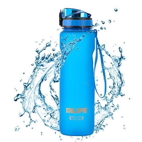 1L Gourde Eau pour Sport Sans BPA Tritan Écologique Anti-fuites Bouteilles d'eau One Click Open Idéal pour Le Cyclisme, la Course à Pied, Le Yoga et la Randonnée - Bleu
