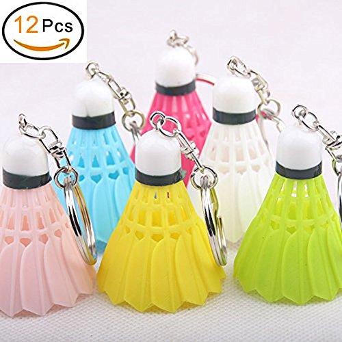 EQLEF Porte clé Badminton, Mini Pendentif Porte-clés Boule de Badminton coloré pour Les Amateurs de Sport / 12 pièces
