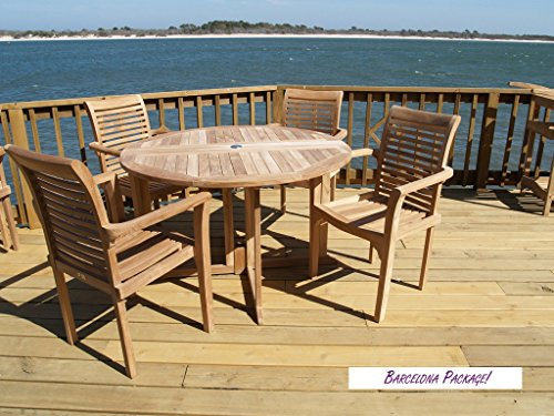 """Genuine Grade A Teak, Barcelona 47"""" Round Drop Leaf Table W/4 Casa Blanca Stacking Arm Chairs w Comfortable Contoured Seats, World's Best Outdoor Furniture, Teak Lasts A Lifetime! Assembled"""