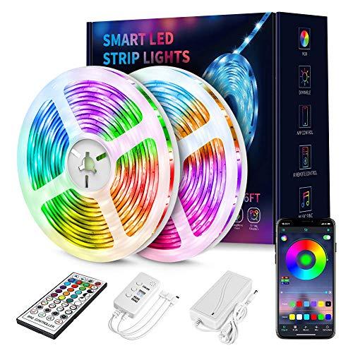 Smart LED Strip Lights,RGB 5050 Color Changing Led Light Strips Kit with 44 Keys Ir Remote Controller,Sync to Music Led Strip Lights for Bedroom, Kitchen, Home Decoration-65.6Ft