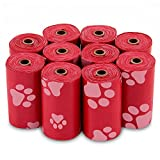 Best Pet Supplies Dog Poop Bags for Waste Refuse Cleanup, Doggy Roll Replacements for Outdoor Puppy Walking and Travel, Leak Proof and Tear Resistant, Thick Plastic - Red, 150 Bags (RD-150B)