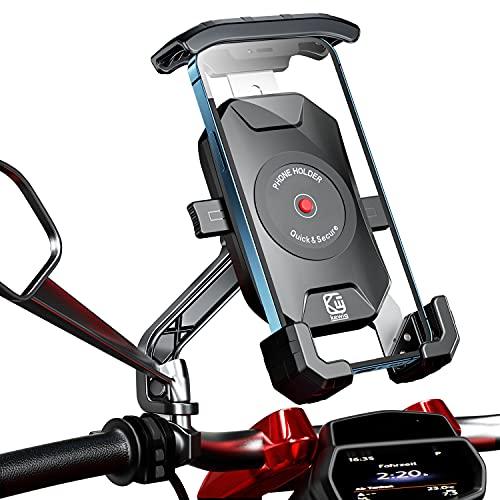 KTUEOV Soporte Movil Moto 360° Rotación Soporte Telefono Motocicleta Durable Anti Vibración Soporte Movil para Moto Retrovisor Resistente al Óxido SoporteMovilScooter para Movil 4-7 Pulgada (Negro)
