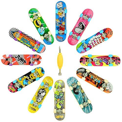 HOMETALL Finger Skateboards for Kids Set of 12, Mini Skateboard Fingerboards 12 Pieces Finger Toys Pack, Gifts for Kids Children Finger Skater