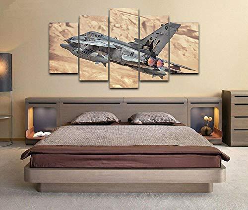 XUEI Avión de Combate Panavia Tornado Impresión en Lienzo 5 Piezas,Pared de Arte de impresión HD Moderna, Utilizado para Sala Regalos de decoración de Oficina 150x80cm(Enmarcado)