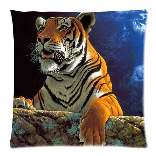 Home Decorative Custom Power Tiger Zippered Square Throw Pillow Cover Cushion Case 18x18 (Twin sides)