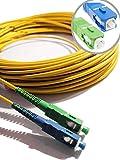 Elfcam® - Cable de Fibra Óptica Monomodo Simplex SC/APC a SC/UPC, 9/125µm LSZH Amarillo , 7M