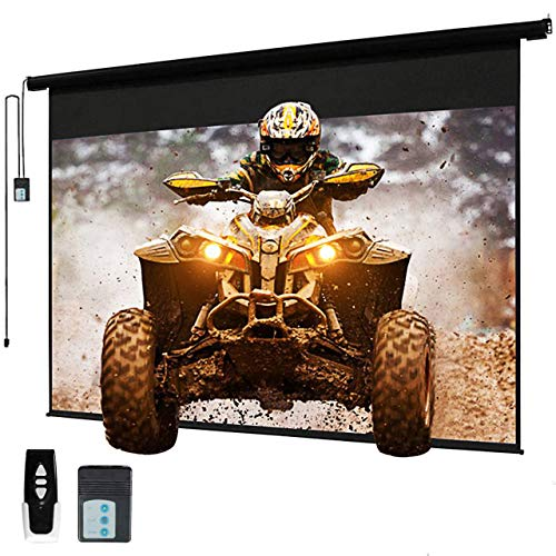 """120"""" Motorized Projector Screen Electric Diagonal Automatic Projection 4:3 HD Movies Screen for Home Theater Presentation Education Outdoor Indoor W/Remote Control and Wall/Ceiling Mount"""