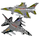 ArtCreativity Diecast F-16 Fighting Falcon Jets with Pullback Mechanism, Set of 2, Die Cast Metal Jet Plane Fighter Toys for Boys, Air Force Military Cake Decorations, Aviation Party Favors