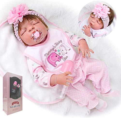 ZIYIUI Bambole Reborn 23 Pollici 57 cm Realistico Bambole Reborn Tutto Il Corpo in Silicone Bambole Reborn Femmine Occhi Chiusi Neonato Regalo di Natale
