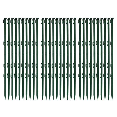 Lot de 30ellofence Piquets pour clôture en plastique Vert, hauteur totale 72cm (Paquet de 30pièces)