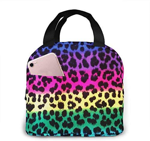 Bolsa de almuerzo de leopardo de guepardo colorido para mujeres, niñas, niños, bolsa de picnic aislada, enfriador térmico, bolsa grande para preparación de comidas, linda bolsa grande, a pru