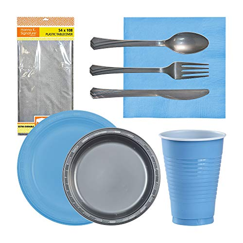 Mega Disposable Party Supplies Set-Plastic Plates, Cups, Luncheon Napkins, Large Tablecover & Silver Cutlery (Fork, Knife, Spoon)| 30 Guest Bundle| for Kids/Adult Birthdays, Bachelorettes, Fiestas
