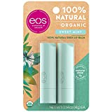 eos USDA Organic Lip Balm - Sweet Mint | Lip Care to Moisturize Dry Lips | 100% Natural and Gluten Free | Long Lasting Hydration | 0.14 oz | 2 Pack (2131264)