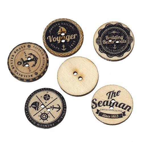Sadingo Holzknöpfe zum aufnähen - 20 Stück - 2,5 cm - Maritimes Muster - Naturell, schwarz - zufälliger Mix