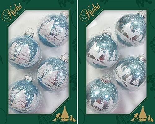 Lauscha - Set di palline in vetro per la foresta invernale, 2 scomparti, 7 cm