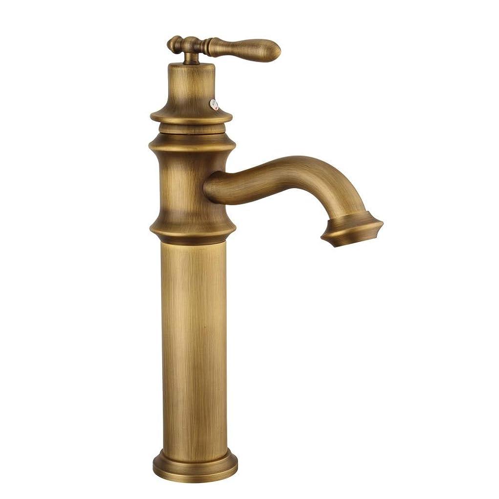 メトリックおっとレンディションZxyan 蛇口 立体水栓 アンティーク真鍮流域水栓シングルホルダー単穴のデッキの取付けホットコールドウォーターシングルハンドルの浴室の蛇口345 * 125ミリメートルアンティーク真鍮 トイレ/キッチン用
