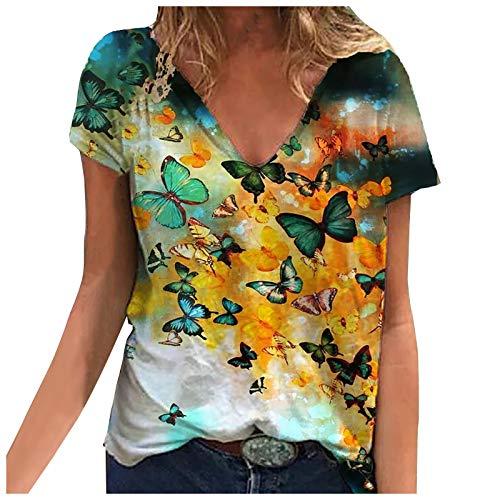 Camiseta Mujer de Manga Corta Blusa con Estampado de Mariposas Talla Grande, Tops Casuales Holgados con Cuello Redondo Mujer Abrigo Deportiva Sudaderas Mujer Baratas 2021