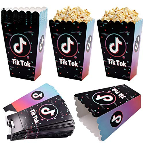 Tik Tok Cajas de Palomitas Cartón Caramelo Contenedor Cine Pequeñas Cajas de Palomitas de Maíz Party Bags Pequeña Caja de Regalo Contenedor de cartón para la Fiesta de Bodas de Navidad 24pcs