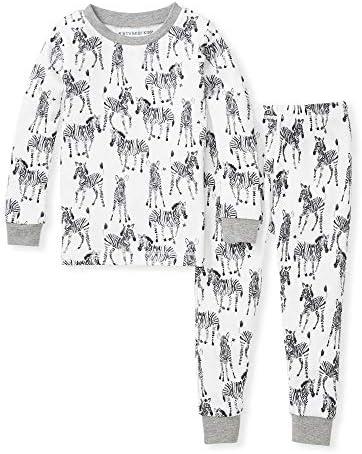 Burt s Bees Baby Baby Boys Pajamas Tee and Pant 2 Piece Pj Set 100 Organic Cotton Zebra Herd product image