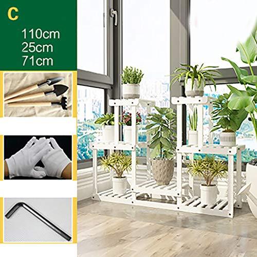 balcon voyantes Support de fleur solide bois charnue étagère multi-couche intérieure balcon rack salon décoration pot rack Plantes d'extérieur Présentoir (Couleur : B)