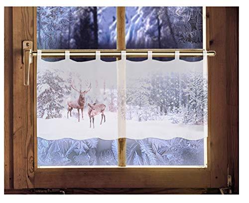 Scheibengardine Winter 45 x 120 cm Caféhausgardine Weihnachtsgardine winterliche Landhausdeko