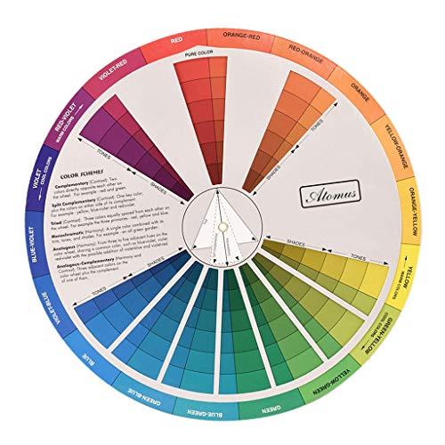 Baoblaze Tattoo Nagellack Farbmischscheibe Farbmischrad Color Wheel für Malen und Airbrush
