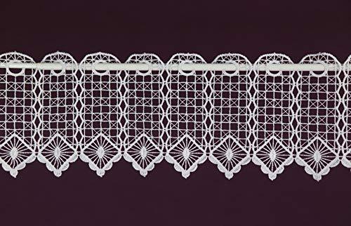 Scheibengardine nach Maß Macramee Lamellenpanneau Häkel Cafehausgardine Panneaux Bistrogardine Landhaus Spitze Höhe 15 cm - Breite der Gardine durch Stückzahl in 5 cm Schritten wählbar Weiß
