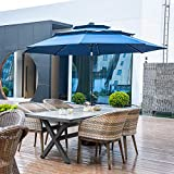 10FT 3 Tiers Patio Umbrella with Lights Windproof Outdoor Market Umbrella Large Waterproof Table Umbrella with Tilt and Crank (Navy Blue)