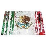 Juego de 6 manteles individuales, lavables y antideslizantes, resistentes al calor, con impresión de vinilo, 45,7 x 30,5 cm, con la bandera de México, para mesa de cocina, fácil de limpiar