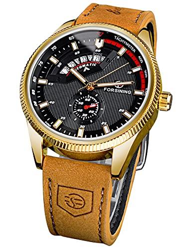 FORSINING Hombres Deportes Fecha Automática Mecánica Negro Reloj Militar Impermeable Luminoso Relojes para Hombres Top Marca Cuero Genuino