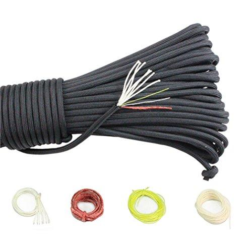 PSKOOK 550 Paracord Überleben Cord Paracord Fire Cord Survival Feuerstarter Cord Gewachst Jute Zunder 7 Strängen (100% Nylon Seil)+3 (Zunder, PE Angelschnur, Baumwollschnur) (Schwarz, 100FT)