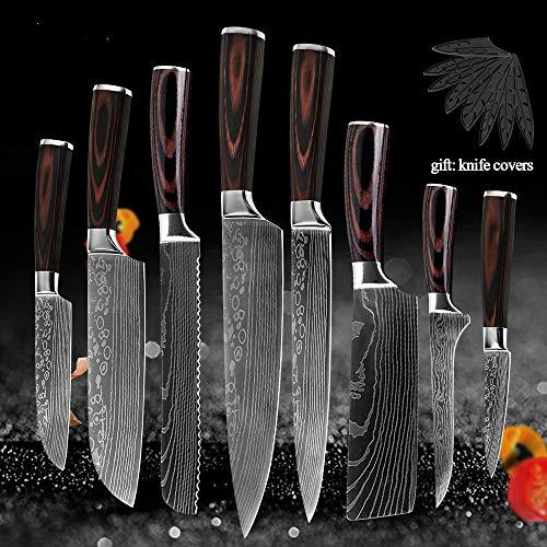 8pcs Set di coltelli da cucina Acciaio inossidabile 7CR17 Coltello da cuoco giapponese Disossamento di sbucciatura della mannaia del pane Coltello da cucina Accessori per copertine
