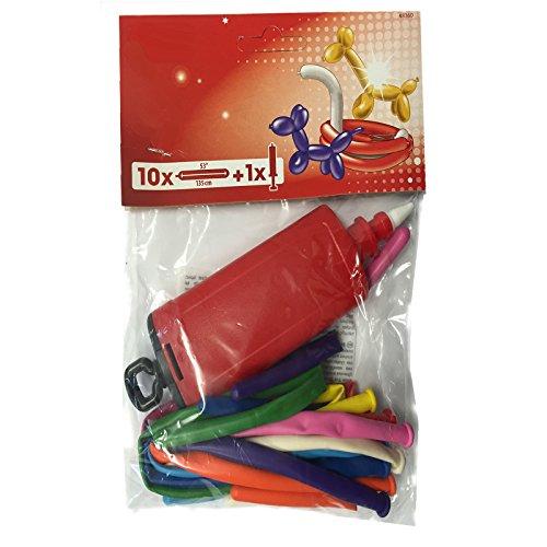 Carpeta 10 Bunte Modellier-Ballons mit Luft-Pumpe // für Figuren aus Luftballons Kindergeburtstag Modellierballons