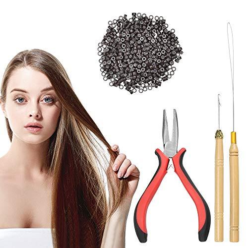 EMAGEREN 4 in 1 Salon 500 x Microring Set Microrings, Schlaufennadel Microring Microringnadel Zange Werkzeugsatz Haarverlängerung Kit für Haarverlängerung Zubehör (Microrings in Dunkelbraun)