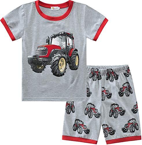 Little Hand Schlafanzug Jungen Kurz Kinder Sommer Zweiteiliger Baumwolle Dinosaurier Bagger Motorrad Flugzeug Kurzer Pyjamas Nachtwäsche 92 98 104 110 116 122 (98 (HerstellerGröße: 100), Traktor)