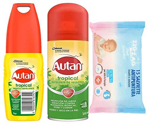 Autan Set Tropical Insetto Repellente VAPO - Spray Secco 100ML più 1 Confezione 15 salviette antipuntura