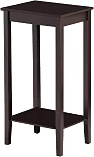 Yaheetech 2 Tier Wood Tall End Table Sofa Side Snack Table Multipurpose Small Table for Living Room Bedroom, Dark Coffee