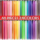 48 Pcs Colorful Straight Hair Extensions Clip in 21 Inch Rainbow Multi-Color Clip in Synthetic Long Hairpiece Party Highlights Clip in Hair Extensions for Women Girls Kids Gift (24 Colors 48pcs)