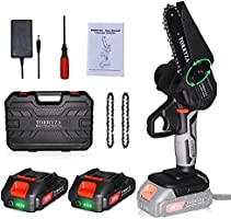 TORRYZA Mini Chainsaw Cordless Electric Chainsaw with 2 Upgraded Battery 2 Chain, 4-Inch Battery Chainsaw Mini Saw for...