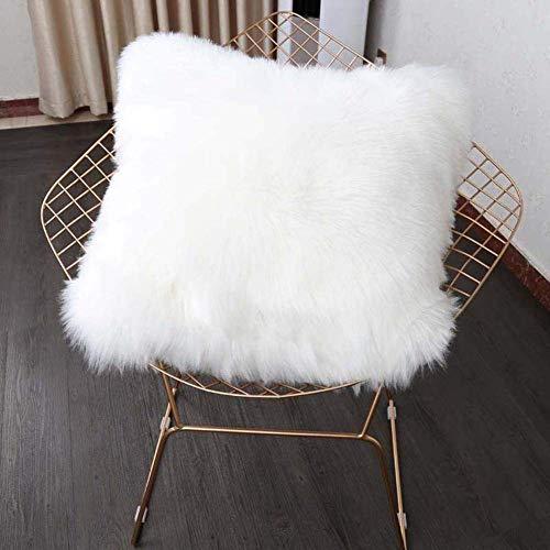 YIHAIC Housse de Coussin, Fausse Fourrure Deluxe Décoratif Canapé Chambre Lit Super Doux Peluche Mongolie Taie d'oreiller 45X45cm (Blanc)