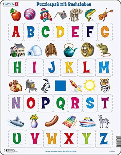 Larsen LS826 Lernen Sie das Alphabet: 26 Großbuchstaben, Deutsch Ausgabe, Rahmenpuzzle mit 26 Teilen