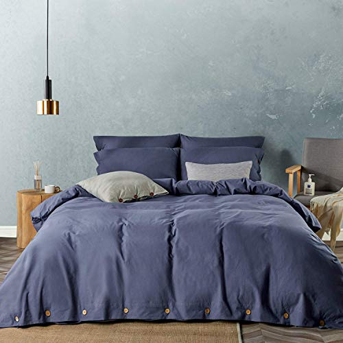 JELLYMONI Denim Blue 100% Washed Cotton Duvet Cover Set, 3 Pieces Luxury Soft Bedding Set with Buttons Closure. Solid Color Pattern Duvet Cover Cal King Size(No Comforter)
