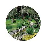 Rutschfreies Gummi-Rundmaus-Pad Gartendekoration Erholungsansicht im japanischen Parkstil mit Teichgrassteinen und Baumlandschaft Grün 7.9'x7.9'x3MM